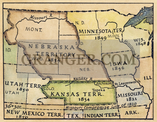 Image of KANSAS-NEBRASKA MAP, 1854. - Detail Of A Map Of The United ...
