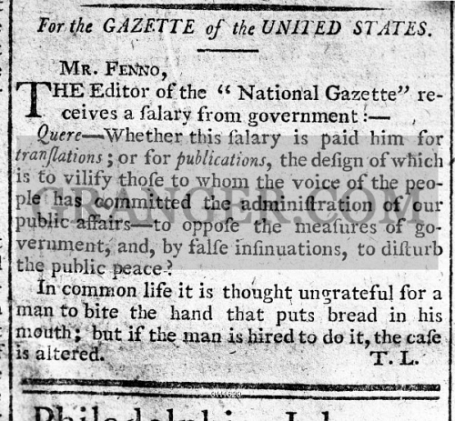 Image of FEDERALIST NEWSPAPER, 1792  - Letter From Alexander
