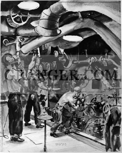 Image of WWII: BATTLESHIP BOILER. - Crew Members In The Boiler Room ...